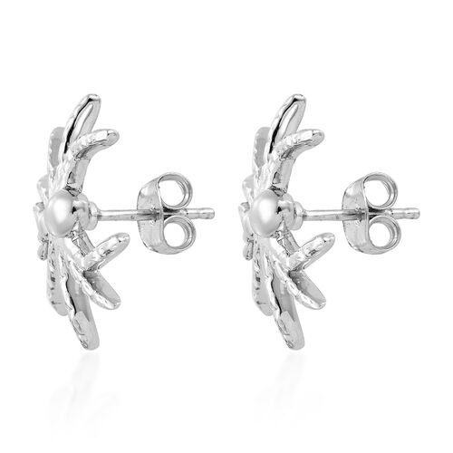 Platinum Overlay Sterling Silver Spider Earrings (With Push Back), Silver wt: 4.63 Gms.