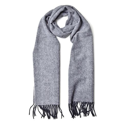 100% Wool Grey and Black Colour Scarf with Tassels (Size 180X30 Cm)