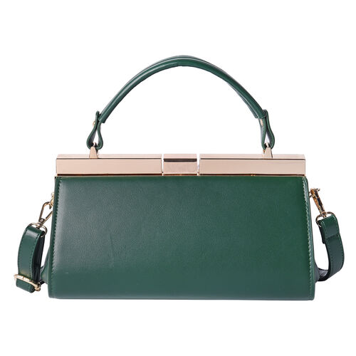 BOUTIQUE COLLECTION Dark Green Clutch Bag with Detachable Shoulder Strap and Top Handle (Size 26x13x