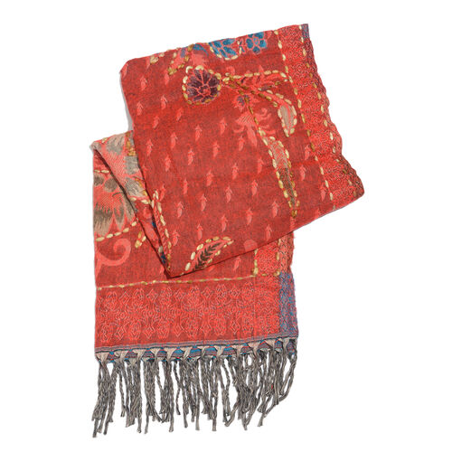 Close Out Deal - Hand Embroidered Adda Work from India - Red, Chocolate and Multi Colour Floral Pattern Hand Embroidered Scarf with Tassels (Size 200X67 Cm)