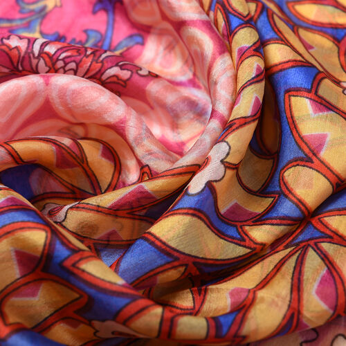 100% Mulberry Silk Floral Vine Pattern Scarf (Size 180x110Cm) - Red and Orange