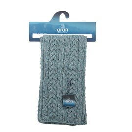 ARAN 100% Pure New Wool Irish Scarf in Grey Colour (Size One)