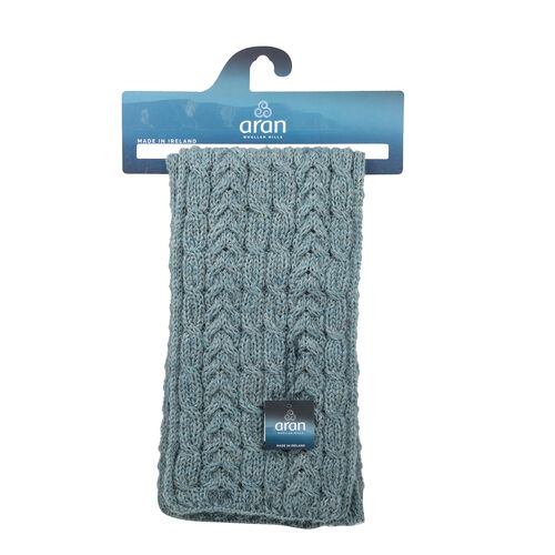 ARAN 100% Pure New Wool Irish Scarf in Blue (Size One, 150x20cm)