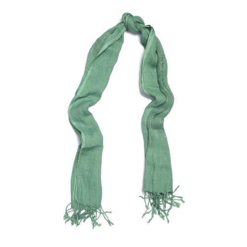 Luxurious Super Soft 100% Linen Handloom Woven Natural Dyed Green Colour Shawl (Size 180x70 Cm)