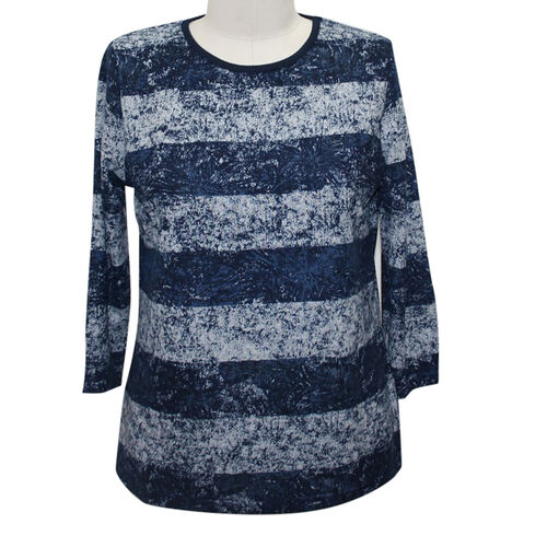 Auburn Brushed Striped Navy and Grey  Top (Size M)