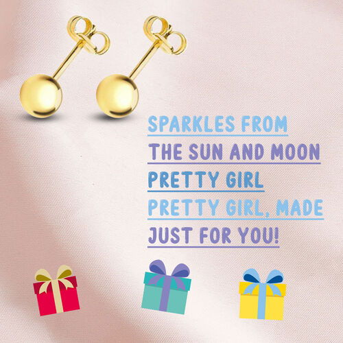 Ball Stud Earrings for Kids in 9K Yellow Gold