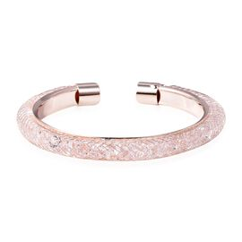 Designer Inspired-White Austrian Crystal (Rnd) Cuff Bangle (Size 7) in Rose Gold Plated