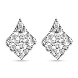 Diamond Earrings (with Push Back) in Platinum Overlay Sterling Silver 1.00 ct,Sliver Wt. 5.25 Gms.