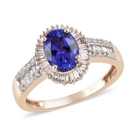 9K Yellow Gold AAA Tanzanite (Ovl 8x6) and Diamond Ring 1.60 Ct.
