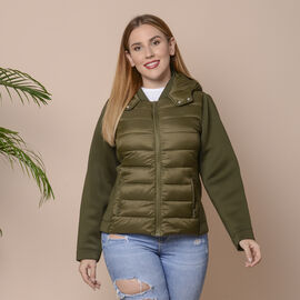 Solid Olive Green Insulated Women Jacket