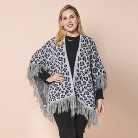 LA MAREY Leopard Print Kimono with Full Tassel in Grey