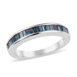 9K White Gold Blue Diamond (Bgt) Half Eternity Ring 0.50 Ct.