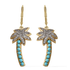 Cambodian Zircon (0.50 Ct),SLEEPING BEAUTY TURQUOISE 14K Gold Overlay Sterling Silver Earring  1.000  Ct.
