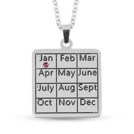Austrian Red Crystal January Marked Calendar Pendant with Chain (Size 20) in Stainless Steel