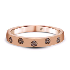 9K Rose Gold Pink Diamond Ring Band Ring
