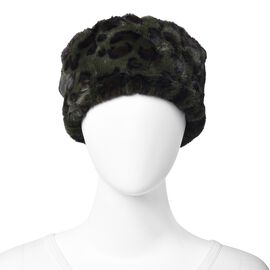 Leopard Pattern Faux Fur Warming Headband (Size 12x30 Cm) - Black and Green