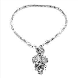 Royal Bali Tulang Naga Bracelet with Leaves and Octopus Charm in Sterling Silver 9.95 Grams 8 Inch