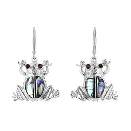 Abalone Shell and Black Austrian Crystal Drop Bear Earrings in Stainless Steel