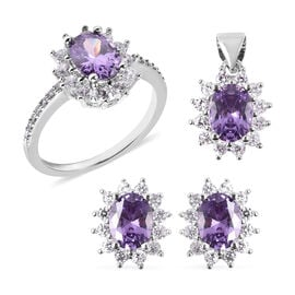 3 Piece Set - Simulated Amethyst and Simulated Diamond Sunburst Theme Ring, Stud Earrings (with Push
