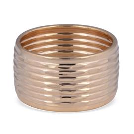 Italian Made 9K Yellow Gold Diamond Cut Wide Band Ring