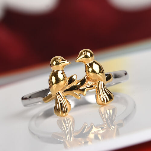 Platinum and Yellow Gold Overlay Sterling Silver Twin Bird Couple Ring