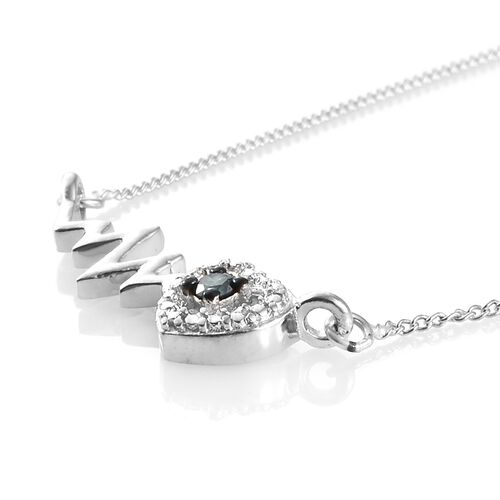 Blue Diamond (Rnd) Heart Beat Inspired Necklace (Size 18) in Platinum Overlay Sterling Silver