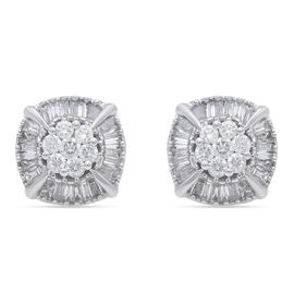 10K White Gold and Diamond (I1-I2/G-H) Earrings (with Push Back) 0.75 Ct.