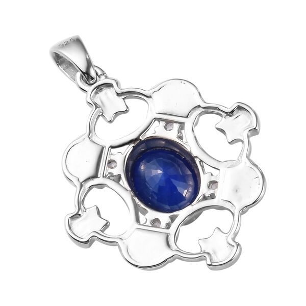 Tanzanian Blue Spinel and Natural Cambodian Zircon Enamelled Pendant in Platinum Overlay Sterling Silver 2.25 Ct.