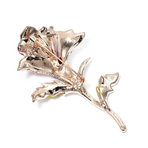 Designer Inspired - Multi Color Austrian Crystal (Rnd) Calla Lily Brooch in Rose Gold Plated.