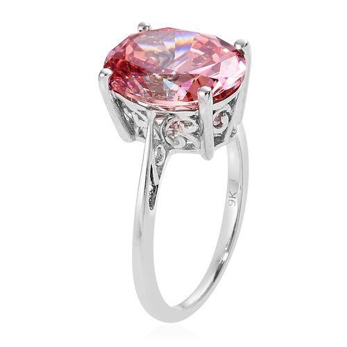 J Francis 9K White Gold (Ovl) Ring Made with Pink SWAROVSKI ZIRCONIA, Gold wt 2.52 Gms.