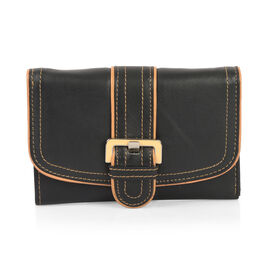 Classic Black with Tan Trim 100% Genuine Leather RFID Secured Wallet (Size 15x2x10 Cm)