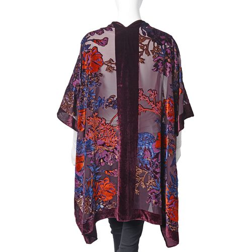 Designer Inspired-Wine Red, Orange and Multi Colour Peony Flower Pattern Kimono (Free Size)