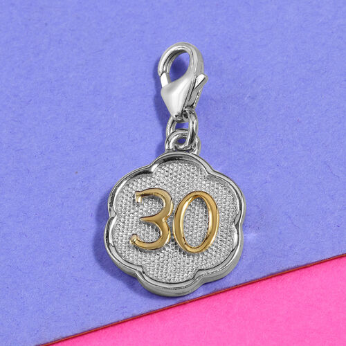 30 Birthday Anniversary Charm in Platinum and Yellow Gold Overlay Sterling Silver