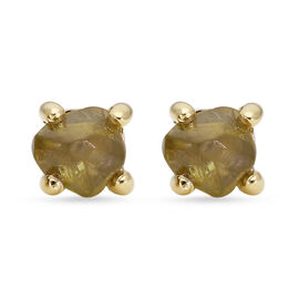 9K Yellow Gold Natural Yellow Diamond Stud Earrings (with Push Back) 1.00 Ct.