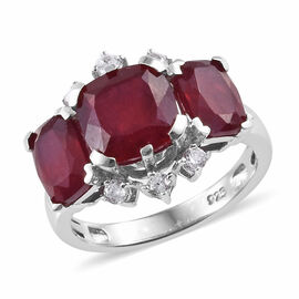 African Ruby (Cush), Natural Cambodian Zircon Ring in Platinum Overlay Sterling Silver 6.500 Ct.
