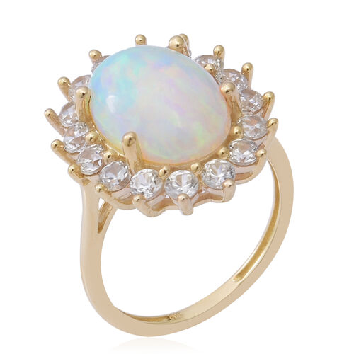 9K Yellow Gold Ethiopian Welo Opal (OV 14X10MM) and Natural Cambodian White Zircon Ring 6.18 Ct.