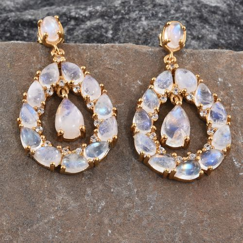 Sri Lankan Rainbow Moonstone (Pear), Natural Cambodian Zircon Drop Earrings (with Push Back) in 14K Gold Overlay Sterling Silver 16.250 Ct. Silver wt 7.13 Gms.