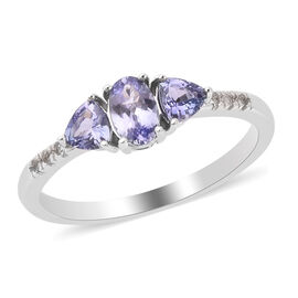 Tanzanite and Natural Cambodian Zircon Ring in Rhodium Overlay Sterling Silver