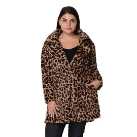 Leopard Print Faux Fur Winter Long Sleeve Coat in Brown and Black
