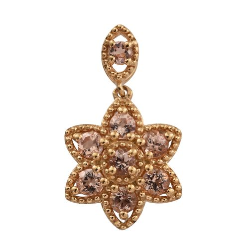 Imperial Topaz (Rnd) Floral Pendant in 14K Gold Overlay Sterling Silver 1.000 Ct.