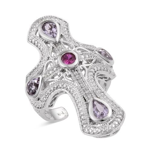 Rose De France Amethyst (Pear), Simulated Ruby Ring in ION Plated Platinum Bond 1.750 Ct.