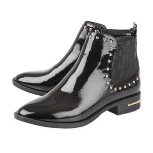 Lotus Lolita Patent Ankle Boots- Black