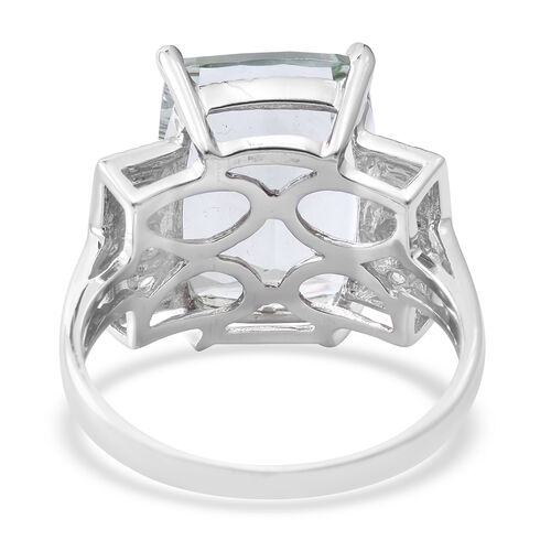 Green Amethyst (Cush 8.97 Ct), Natural White Cambodian Zircon Ring in Rhodium Plated Sterling Silver 9.570 Ct.