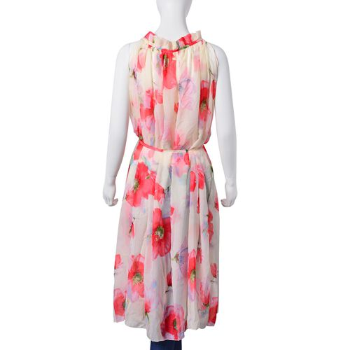 New For Season -Red, Light Green and Multi Colour Bloom Floral Pattern Off White Colour Dress (Free Size)