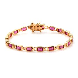 African Ruby Line Bracelet (Size 7) in 14K Gold Overlay Sterling Silver 8.12 Ct, Silver wt. 9.10 Gms