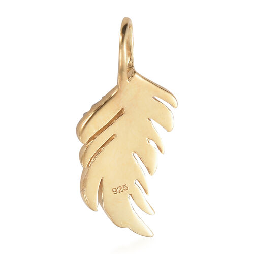 14K Yellow Gold Overlay Sterling Silver Leaf Pendant