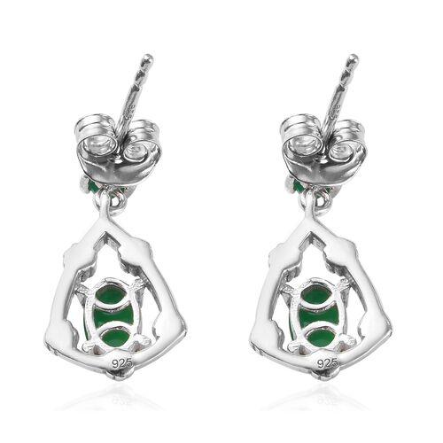 AA Green Ethiopian Opal Earrings (with Push Back) in Platinum Overlay Sterling Silver 1.00 Ct.