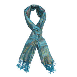SILK MARK - 100% Superfine Silk Turquoise Colour Jacquard Jamawar Scarf with Fringes (Size 180x70 Cm) (Weight 125-140 Grams)