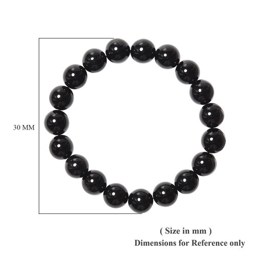Black Agate Beaded Stretchable Bracelet (Size 6.5) 136.00 Ct.