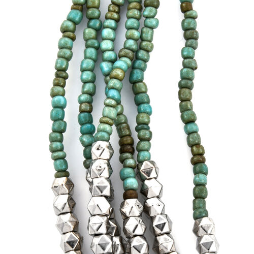 2 Piece Set - Turquoise and Silver Colour Beads Multi Strand Necklace (Size 15.5) and Stretchable Bracelet (Size 7)